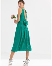 TFNC London Bridesmaid Midi Dress With Bow Back - Green