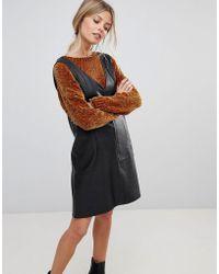 ASOS - Pu V Neck Mini Shift Dress - Lyst