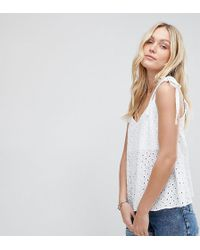 ASOS - Asos Design Tall Swing Vest With Tie Shoulder In Broderie - Lyst