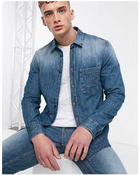 Love Moschino Chemise en jean estampé - Bleu