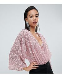 ASOS - Asos Design Tall Body In Sequin Embellishment With Plunge Wrap And Kimono Sleeve - Lyst