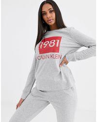 Calvin Klein Комплект Из Свитшота И Джоггеров Серого Цвета Bold 1981-серый