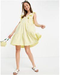 Mango Vestido veraniego amarillo con volantes