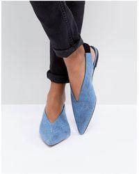 Gestuz Denim Flat Slingback Shoe - Blue