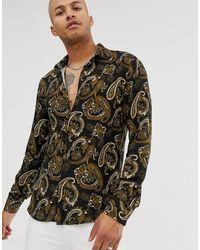 Bolongaro Trevor Paisley Long Sleeve Shirt - Black