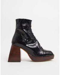 ASOS - Черне Кожаные Премиум-ботинки На Платформе И Шнуровке - Lyst