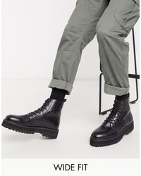 ASOS Черные Ботинки Из Искусственной Кожи Для Широкой Стопы На Шнуровке И Массивной Подошве - Черный