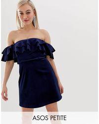 ASOS Asos Design Petite Velvet Bardot Mini Dress With Ruffle Detail - Blue
