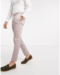 ASOS Wedding – Super enge Anzughose aus Stretch-Baumwolle - Lila