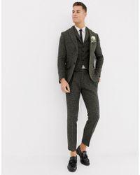 ASOS - Slim Suit Trousers In 100% Wool Harris Tweed Khaki Micro Check - Lyst