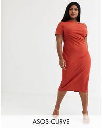 ASOS Vestido midi texturizado con escote bardot - Rojo