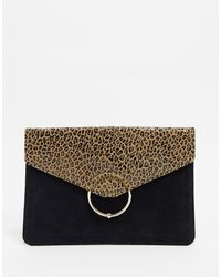 ASOS Leopard & Suede Mix Clutch Bag With Ringball - Multicolor