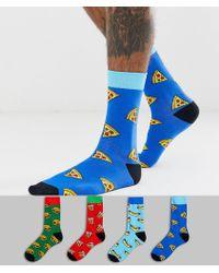 Jack & Jones 4 Pack Fast Food Socks - Blue