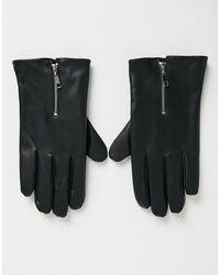 ASOS Перчатки Для Сенсорных Гаджетов Из Искусственной Кожи С Молнией - Черный