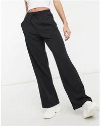 Miss Selfridge Wide Leg Scuba Trousers - Black