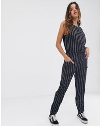 RVCA Pop Out Jumpsuit In Stripe - Gray