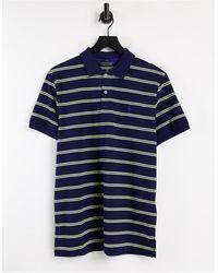 Polo Ralph Lauren Темно-синее Поло Из Ткани Пике Из Окрашенной Пряжи С Желтыми Полосками Golf-темно-синий