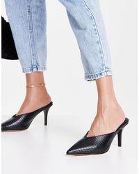 NA-KD Zapatos negros estilo mules en punta con talonera cuadrada