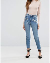 Miss Selfridge | Floral Embroidered Mom Jeans | Lyst