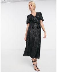 Whistles Sequin Wrap Dress - Black