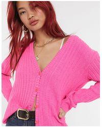 UNIQUE21 Розовый Кардиган В Рубчик -черный