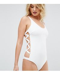 Wolf & Whistle - Ribbed Lace Up Side Swimsuit Dd - G Cup - Lyst