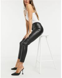 Mango Faux Leather Skinny Trousers - Black