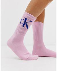 Calvin Klein - Korte Sokken Met Logo In Roze - Lyst