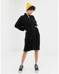 NA-KD - Zip Front Knitted Dress In Black - Lyst
