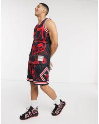 Mitchell & Ness Nba Big Face Chicago Bulls Mesh Shorts - Black