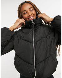 Bershka Cropped Padded Puffer Jacket - Black