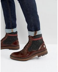 Ted Baker - Ruulen Leather & Textile Lace Up Boots - Lyst