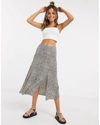 Oasis Camo Textured Midi Skirt - Black