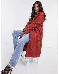 Missguided Двубортное Пальто-кокон Рыжего Цвета -красный