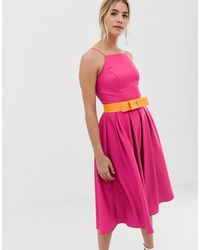 Chi Chi London Pinny Prom Dress With Contrast Belt - Pink