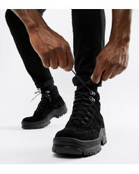 ASOS Sneaker Boot In Black Nubuck With Chunky Sole