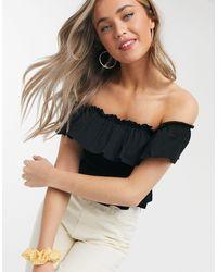 Miss Selfridge Shirred Bardot Top - Black