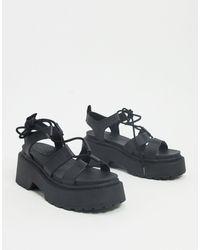 TOPSHOP Sandales à lacets avec semelle plateforme - Noir