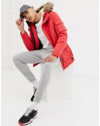 7522166fc Originals Parka With Borg Lining And Faux Fur Hood - Red