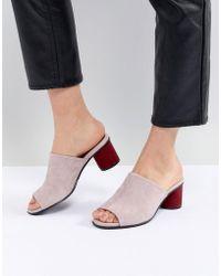 SELECTED - Suede Mule With Contrast Heel - Lyst