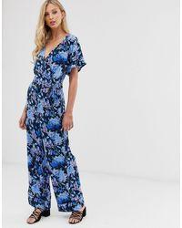 Ichi Floral Wrap Jumpsuit - Blue