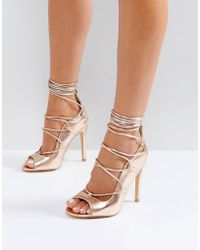 Truffle Collection - Tie Up Skinny Heel Sandal - Lyst