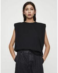 Pull&Bear Padded Shoulder Vest - Black