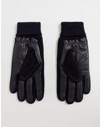 ASOS Gants en cuir pour écran tactile avec empiècement en daim et poignets côtelés - Noir