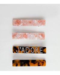 Glamorous J'adore - Set Van 4 Haarclips Met Tortoise-effect En Rozenkwarts - Meerkleurig