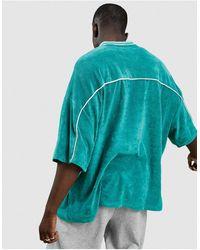 ASOS - Зеленая Удлиненная Футболка Из Махровой Ткани С V-образным Вырезом - Lyst