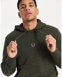 Fred Perry Embroidered Logo Hooded Sweatshirt - Green