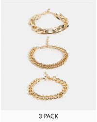 ASOS - Chunky Chain Bracelet Pack - Lyst