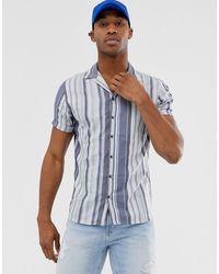 Jack & Jones Premium - Gestreept Overhemd Met Korte Mouwen In Blauw