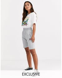 Daisy Street Sweat Shorts With Usa Embroidery - Grey